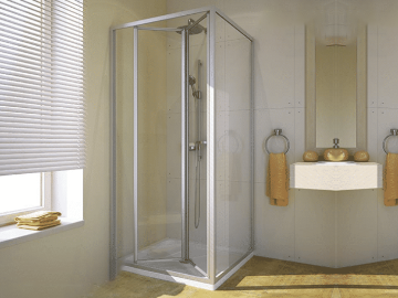 Shower cabins with folding doors